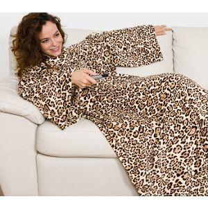 Manta com Mangas Kanguru Leopardo (Entrega em 24h)