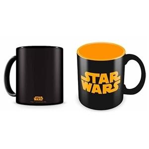 Caneca Preta Logo Laranja Star Wars (Entrega em 24h)