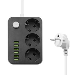 Extensão com 3 tomadas e 6 entradas USB (Entrega em 24h)