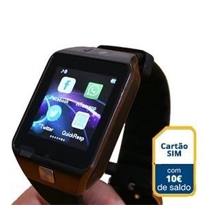 Smartwatch c/ Câmara e GSM Android e iOS c/  EUR10 em Saldo (Entrega em 24h)